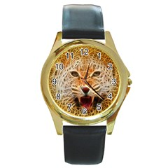 Electrified Fractal Jaguar Round Gold Metal Watch by TheWowFactor