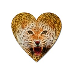 Electrified Fractal Jaguar Magnet (heart) by TheWowFactor