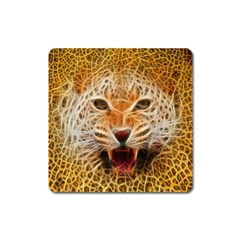 Electrified Fractal Jaguar Magnet (square) by TheWowFactor