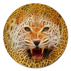 Electrified Fractal Jaguar Magnet 5  (round) by TheWowFactor