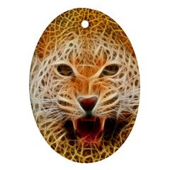 Electrified Fractal Jaguar Oval Ornament (two Sides) by TheWowFactor