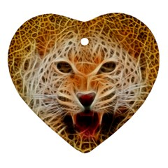 Electrified Fractal Jaguar Heart Ornament (two Sides) by TheWowFactor