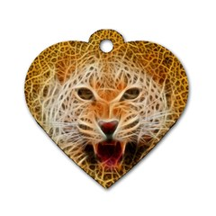 Electrified Fractal Jaguar Dog Tag Heart (one Side) by TheWowFactor