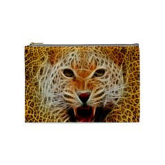 Electrified Fractal Jaguar Cosmetic Bag (medium) by TheWowFactor