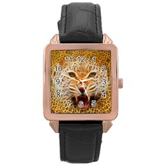 66w Rose Gold Leather Watch  by TheWowFactor