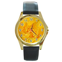 Waterdrops Round Metal Watch (gold Rim)  by Siebenhuehner
