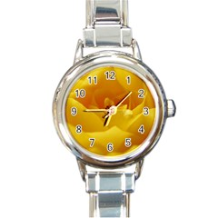 Yellow Rose Round Italian Charm Watch by Siebenhuehner