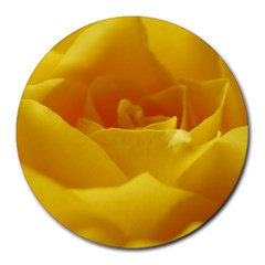Yellow Rose 8  Mouse Pad (round) by Siebenhuehner