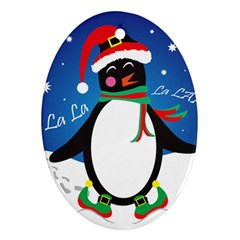 Enthusiastic Christmas Penguin  Oval Ornament (two Sides)