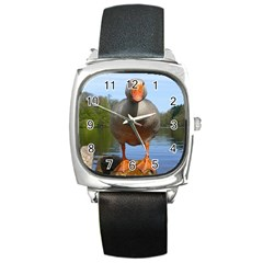 Geese Square Leather Watch by Siebenhuehner