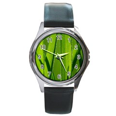 Grass Round Metal Watch (silver Rim) by Siebenhuehner