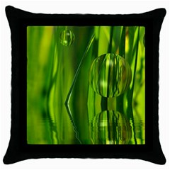 Green Bubbles  Black Throw Pillow Case by Siebenhuehner