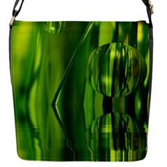 Green Bubbles  Flap Closure Messenger Bag (small) by Siebenhuehner