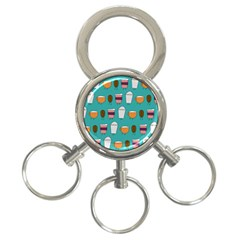 Time For Coffee 3 Ring Key Chain by PaolAllen