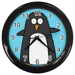 Hello Penguin Wall Clock (black) by PaolAllen