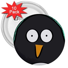 Penguin Close Up 3  Button (10 Pack) by PaolAllen