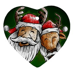Deer Santa, Merry Christmas Heart Ornament (two Sides)