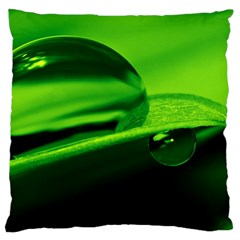 Green Drop Large Cushion Case (two Sided)  by Siebenhuehner