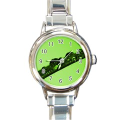 Green Drops Round Italian Charm Watch by Siebenhuehner
