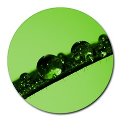 Green Drops 8  Mouse Pad (round) by Siebenhuehner