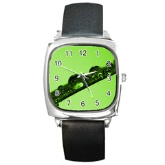 Green Drops Square Leather Watch by Siebenhuehner