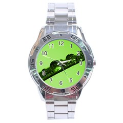 Green Drops Stainless Steel Watch (men s) by Siebenhuehner