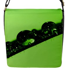 Green Drops Flap Closure Messenger Bag (small)