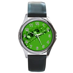 Green Drops Round Metal Watch (silver Rim)