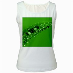 Green Drops Womens  Tank Top (white) by Siebenhuehner