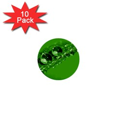 Green Drops 1  Mini Button (10 Pack) by Siebenhuehner