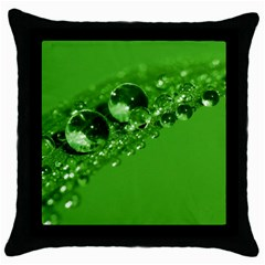 Green Drops Black Throw Pillow Case by Siebenhuehner
