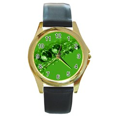 Green Drops Round Metal Watch (gold Rim)  by Siebenhuehner