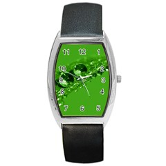 Green Drops Tonneau Leather Watch by Siebenhuehner