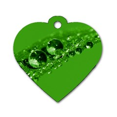Green Drops Dog Tag Heart (one Sided)