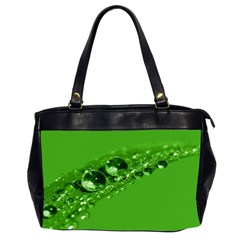 Green Drops Oversize Office Handbag (two Sides)