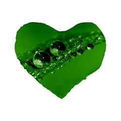 Green Drops 16  Premium Heart Shape Cushion  by Siebenhuehner