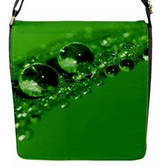 Green Drops Flap Closure Messenger Bag (small) by Siebenhuehner