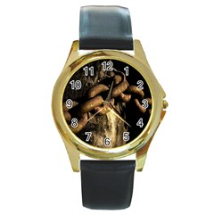 Chain Round Metal Watch (gold Rim)  by Siebenhuehner