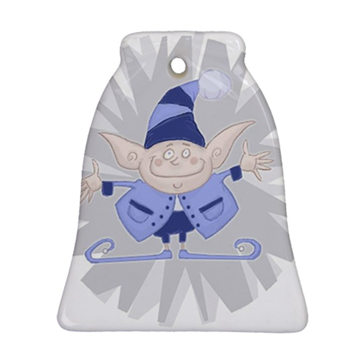 Blue Christmas Elf Bell Ornament