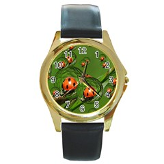 Ladybird Round Metal Watch (gold Rim)  by Siebenhuehner