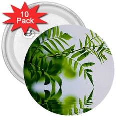 Leafs With Waterreflection 3  Button (10 Pack) by Siebenhuehner
