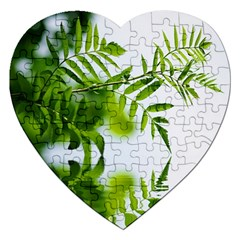 Leafs With Waterreflection Jigsaw Puzzle (heart) by Siebenhuehner