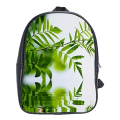 Leafs With Waterreflection School Bag (large) by Siebenhuehner