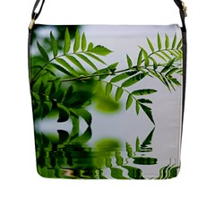 Leafs With Waterreflection Flap Closure Messenger Bag (large) by Siebenhuehner