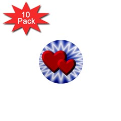 Love 1  Mini Button Magnet (10 Pack)