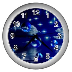 Sky Wall Clock (silver) by Siebenhuehner