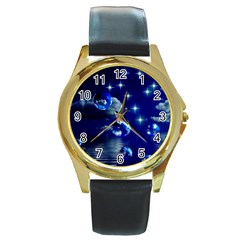 Sky Round Metal Watch (gold Rim)  by Siebenhuehner