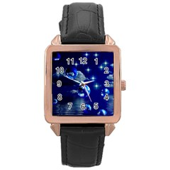 Sky Rose Gold Leather Watch  by Siebenhuehner