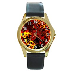 Fire Round Metal Watch (gold Rim)  by Siebenhuehner