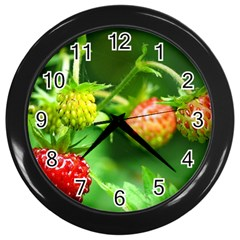 Strawberry  Wall Clock (black) by Siebenhuehner